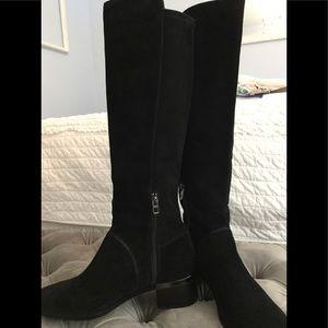 Coach black suede knee high designer boots
